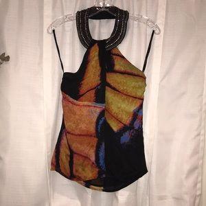 Super cute colorful Bebe halter blouse